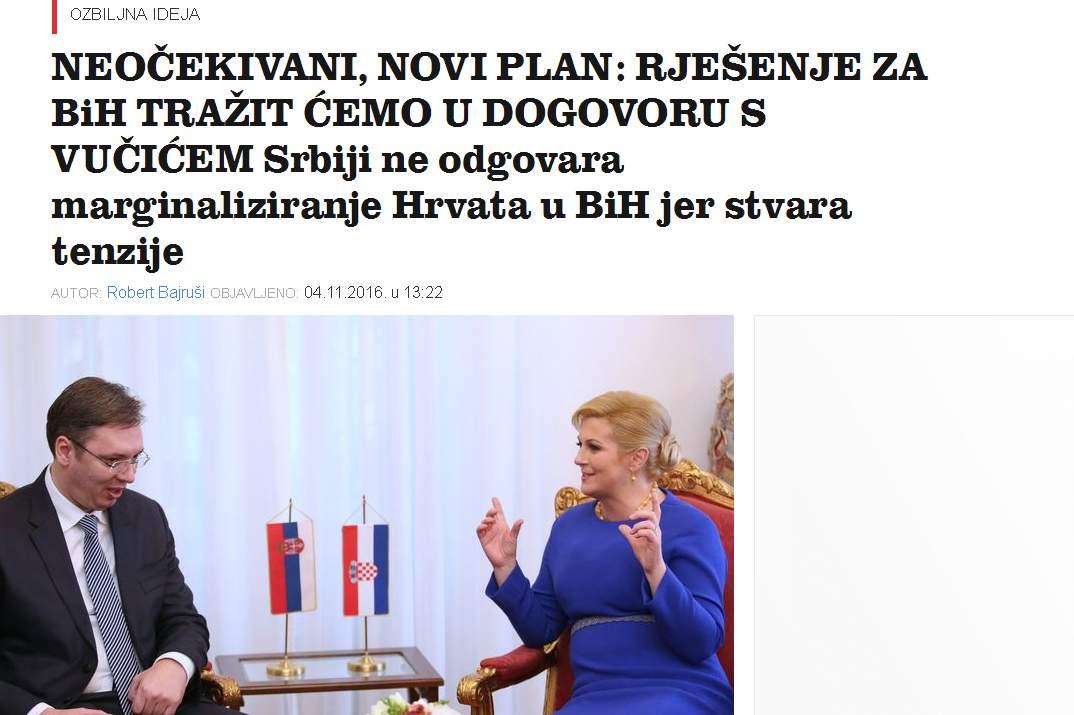 """jutarnji1.jpg - VELIKA ANALIZA Novi-stari saveznici: Hrvatska """"rješenje za BiH"""" traži u dogovorima sa Srbijom!"""